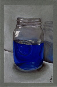A realistic painting of a mason jar that is halfway full of blue liquid.