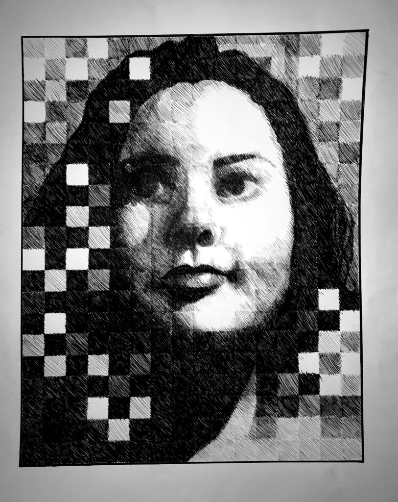 Self-Portrait inspired by Chuck Close