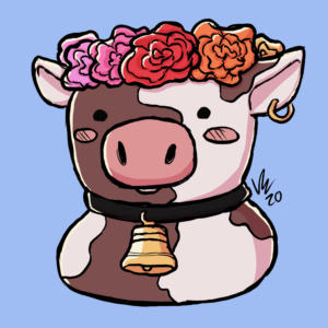 Digital profile picture of cow character