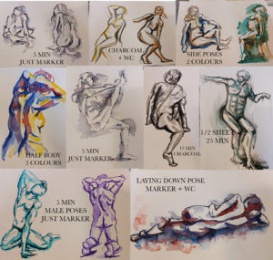 A collection of quick figure studies I made using watercolour paint